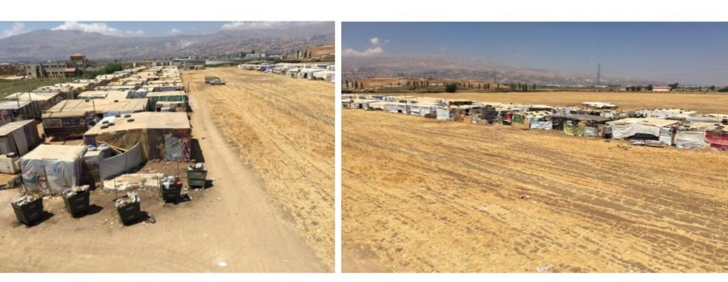 Left image: Earlier location of refugee camp; right image: new location of refugee camp, across a field