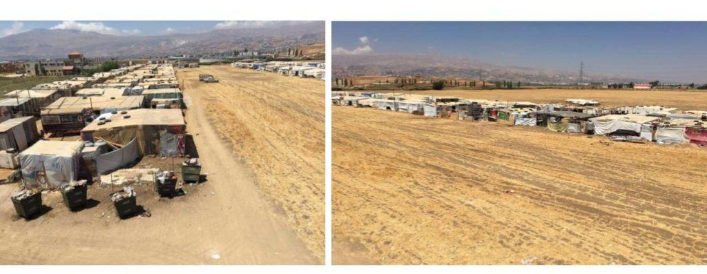 Left image: Earlier location of refugee camp; right image: new location of refugee camp, across a field