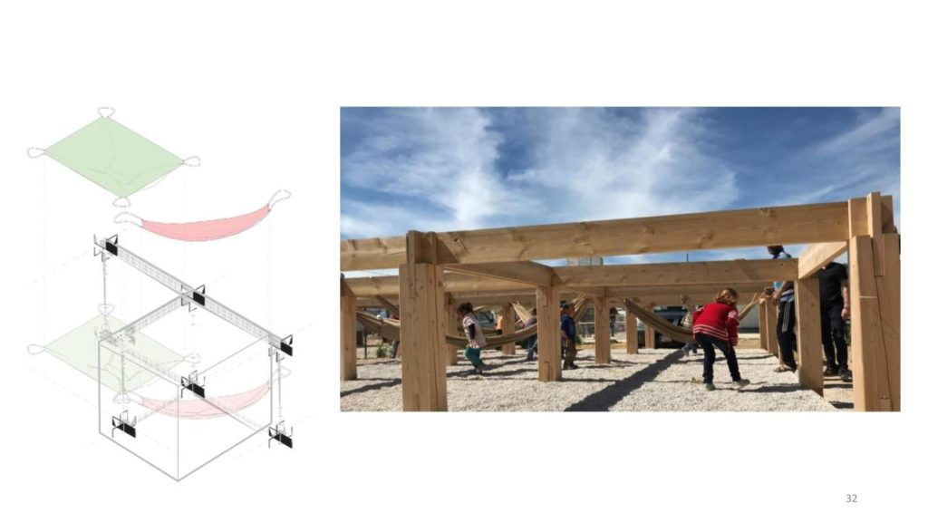 Left: axonometric drawing of the module; right: children playing on the structure