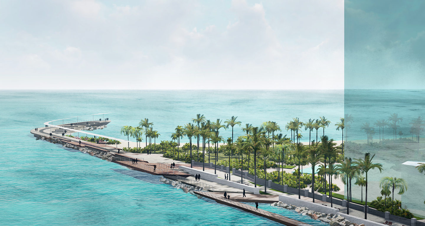 Daytime view of the Bal Harbour Village Cut Walk Jetty